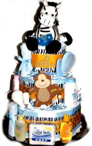 Baby Boys Safari Zebra Shower Diaper Cake - Pink Baby Boutique