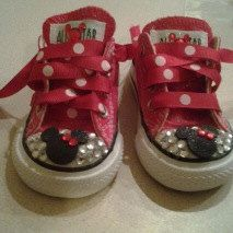 Minnie Mouse Themed Bedazzled Converse. $59.99, via Etsy. For my Addy!
