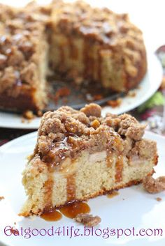 Eat Good 4 Life » Apple and caramel coffee cake - An apple cake with an outstanding strudel and caramel . . . divine!