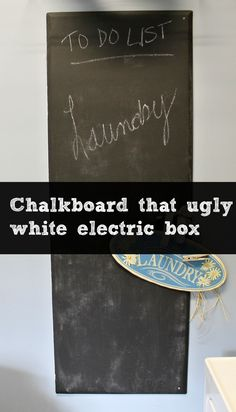 chalkboard electric box and laundry room makeover