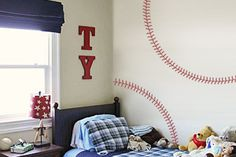 Baseball Stitches Wall Decal from tradingphrases.com really fun way to make an accent or focal wall really easily and affordably!   #decal #baseball #sports