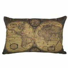 pillowconstruct materi, envelopes, ecofriend ink, 12quot, map pillow, world maps, linens, pillows, insert includeddimens