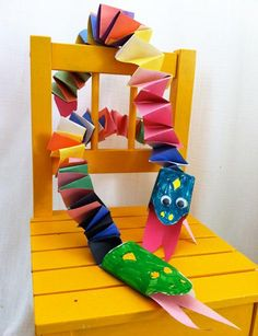 """Did your young artist bring home """"Year if the Snake"""" crafts? Here's a colorful accordion snake that's fun and easy to make from one of the galleries."""