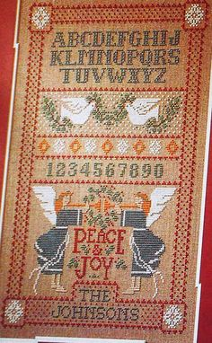 alphabet  Sandy Orton ANGELS OF PEACE Sampler - Counted Cross Stitch Pattern Chart. $4.75, via Etsy.