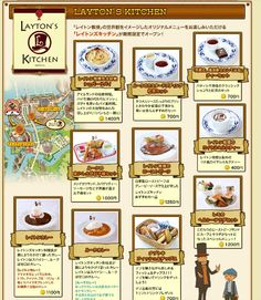 "A food menu for the Professor Layton restaurant ""Layton's kitchen"" in Japan. You heard me; there's actually a Professor Layton themed restaurant called ""Layton's kitchen"" in Japan! And this is why I mark this on my list of why I want to go to Japan, LOL!"