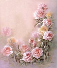 pink roses, one stroke painting, paper, art, thought, blog, printabl, flower, canvases