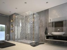 Robert A. M. Stern Designs installed this Bendheim etched glass shower enclosure. The texture's resistance to fingerprints make it a great choice for high-traffic bathrooms.