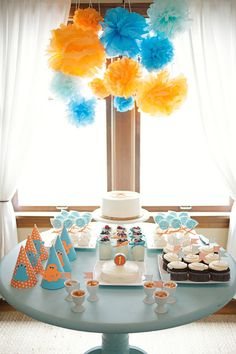MONSTER THEMED BIRTHDAY PARTY IN ORANGE AND BLUE