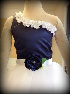Flower Girl Dress - White Tutu (tulle) dress - Custom Color Choice - One shoulder ruffled satin bodice top with full length sewn tutu skirt. $120.00, via Etsy.