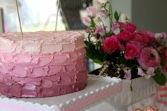 Easy Pink Ombre Butter Cream Frosting Cake tutorial for Real people
