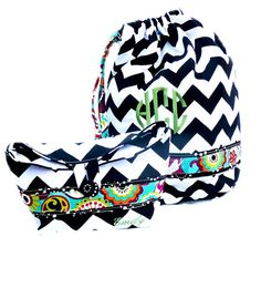 Chevron Beach bag vinyl lined swim bag swimsuit bag by Baileywicks, $22.00