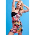 CORAL MULTI HALTER FITTED PARTY DRESS