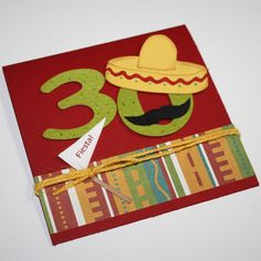 Fiesta birthday invitations - Mexican Fiesta theme / custom numbers, sombrero and moustache. $30.00, via Etsy.