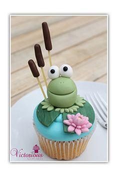 Frog Cupcake by Victorious Cupcakes frog cupcakes, cupcak cuti, cake idea, victori cupcak, bake, cooki, cup cake, frogs, cupcak decor