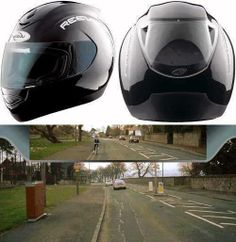 Helmet which allows riders to see behind them.
