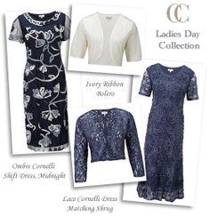 Blue Grey Cornelli Lace Occasion Dress and Matching Bolero