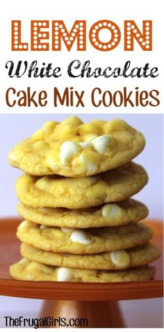 Lemon White Chocolate Cake Mix Cookies 1 Lemon Supreme Cake Mix 1/2 cup Vegetable Oil 2 eggs 1 bag Nestle Premier White Chocolate Baking Chips 12 oz. Combine cake mix, eggs, and oil in large mixing bowl, and beat well. Stir in White Chocolate baking chips. Drop onto ungreased non-stick cookie sheet in rounded balls. Bake for approx. 8 – 9 minutes or until done at 350 degrees.