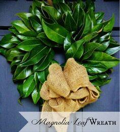 leaf wreath, wreath craft, magnolia leaf