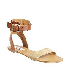 $69.95 SUNKISS TAUPE SUEDE women's sandal flat ankle strap - Steve Madden    I want something similar, but maybe 0.5-1 inch heel