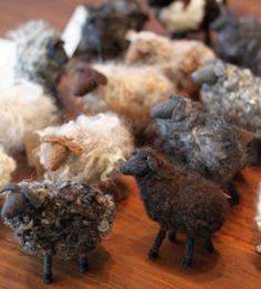 "These sheep are breed specific and are handmade from reclaimed wool in Portland. Each little sheep is created using wool from its respective breed.    They are made without glue and are hand cut, sewn, and sculpted from post consumer wool garments and needle felted with natural wool fleece.    Each sheep stands 4"" tall and comes with breed, origin, and care info.  anderandcoshop.com"