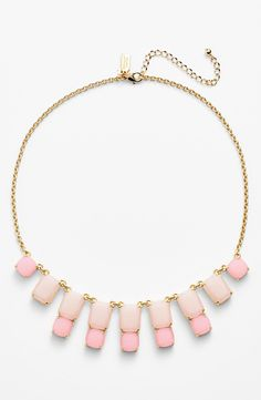 Sparkly and pink! Love this Kate Spade square frontal necklace.