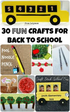 30 FUN Back to School Crafts on Lalymom.com. Apple Crafts, School bus Craft and Pencil related crafts! Click through to see them all!