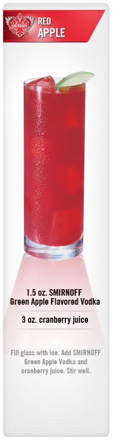 Red Apple drink recipe with Smirnoff Green Apple Flavored Vodka and cranberry juice. #Smirnoff #vodka #apple #cranberry #drinkrecipe