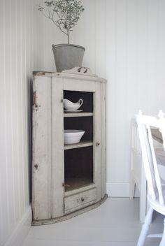 corner cabinet worn white