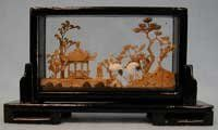 Chinese cork carving / sculpture / picture - hand carved, black lacquer frame (#21) by Reorient, http://www.amazon.com/dp/B000HZIFI2/ref=cm_sw_r_pi_dp_wBOXpb1J995SP