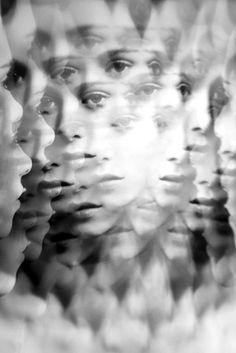Woman in Kaleidoscopic Lens.. B & W Photo.