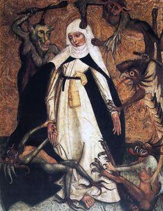 Santa Catalina de Siena asediada por demonios. Circa 1500. http://iglesiadesatan.com/