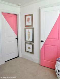Honey We're Home: Diagonal Painted Office Doors