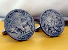 Buffalo Nickel Cufflinks #goods #men #cufflinks #money #owenandfred $38