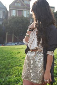gold sequin skirt, ivory ruffle top, navy cardigan