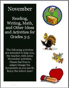 29 pages of activities to use with your students in November!