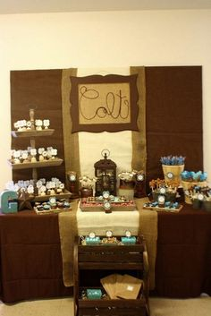 """Photo 1 of 69: Western/Cowboy / Baby Shower/Sip & See """"Western Cowboy Baby Shower in Brown, Beige, and Aqua"""" 