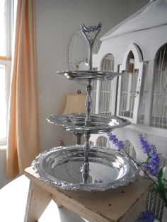 3 tier serving tray shabby chic cottage chic display by ShabbyRoad, $28.00