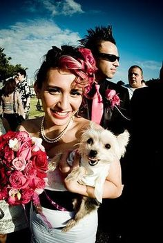 great photo, gotta love dogs in weddings