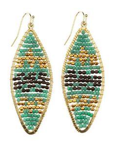 Y1SRG Nakamol Geometric-Beaded Drop Earrings, Turquoise/Gold