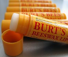 Burt's Bees lip balm very soothing to the lips.