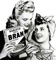 Nabisco bran #vintage #cereal #1940s #women #ad #food #hair #illustration