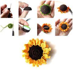 crochet flower, crochet sunflow, sunflow tutori, sunflow crochet