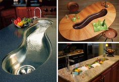 Curved river sinks flow through counter tops.