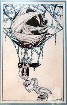 Venom Spiderman and Mary Jane Comic Art