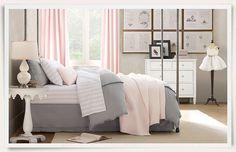 little girls, grey bedrooms, restoration hardware, color palettes, gray bedroom, pale pink, big girl rooms, little girl rooms, kid room