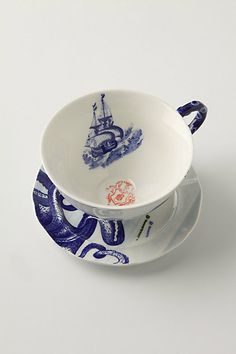 tea time, tea sets, cups, blue, anthropologie, sea, tea cup, octopus, teacup