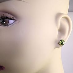 Gorgeous Cushion Cut Peridot Stud Earrings; ideal for August birthday gift!