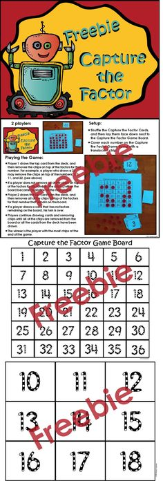 FREE factor game!! Common Core Standards: 4.OA.4 5.NF.5 6.NS.4 factor game, game today
