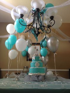 Sweet 16 Tiffany blue. I like the silver with it....