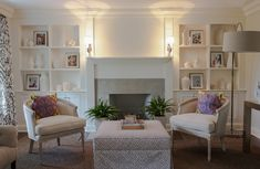 decor, white houses, nightingal design, idea, living rooms, fireplace surrounds, living room chairs, fireplace redo, live room
